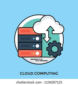 Database devices with cloud and gear sign having arows giving an idea of cloud computing