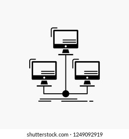 database, distributed, connection, network, computer Glyph Icon. Vector isolated illustration