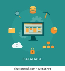 Database flat design. Vector set of data technology items. Vector background.