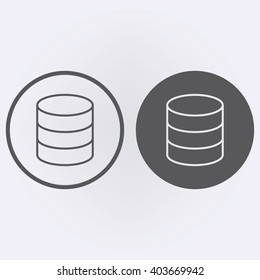 Database icon in circle . Vector illustration