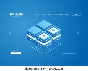 Database icon, data processing and cloud storage concept, digital technology abstract element isometric vector