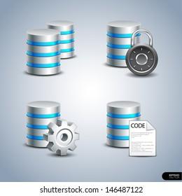 Database Icon set 1 - Vector Illustration