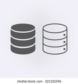Database icon set in circle . Vector illustration