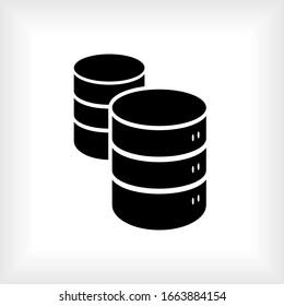 Database Icon. Storage Network Symbol. Data Management Icon. Logo Component - Vector.