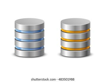 Database icons. Network backup icons. Vector illustration of hard disk symbols