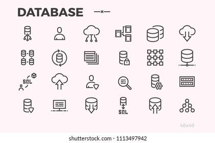 Database icons. Server, cloud technologies. Not editable line.