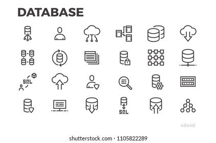 Database icons. Server, data processing, cloud technologies. Editable line.