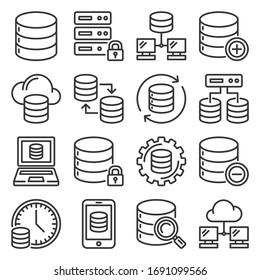 Database Icons Set on White Background. Line Style Vector