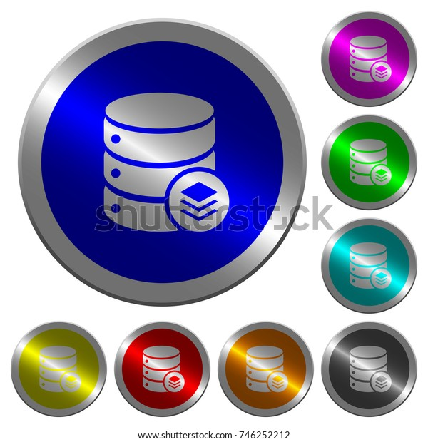 Database layers icons on round luminous coin-like color steel buttons