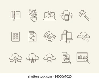 Database line icon set. Software, upload, connection. Network concept. Can be used for topics like technology, cloud server, datacenter