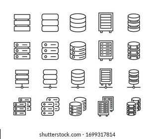 Database line icons set. Stroke vector elements for trendy design. Simple pictograms for mobile concept and web apps. Vector line icons isolated on a white background.