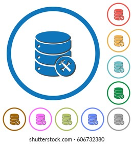 Database maintenance flat color vector icons with shadows in round outlines on white background