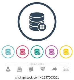 Database modules flat color icons in round outlines. 6 bonus icons included.