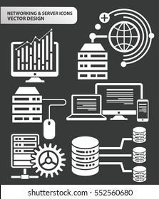 Database and network icon set,clean vector