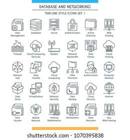 Set für Datenbank- und Netzwerksymbole. Moderne Symbole für die Speicherung, Analyse, Organisation, Synchronisierung und Datenübertragung von Themen. Sammlung von Symbolen für dünne Linien. Vektorgrafik