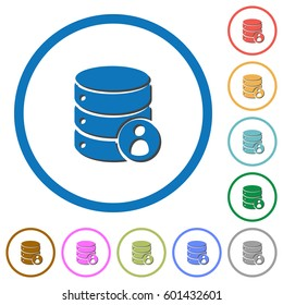 Database privileges flat color vector icons with shadows in round outlines on white background