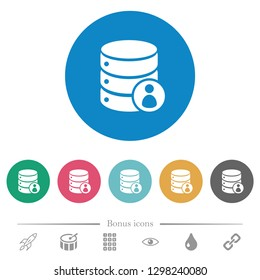 Database privileges flat white icons on round color backgrounds. 6 bonus icons included.