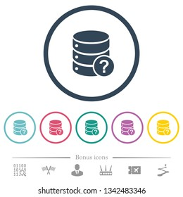 Database query flat color icons in round outlines. 6 bonus icons included.