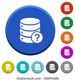 Database query round color beveled buttons with smooth surfaces and flat white icons