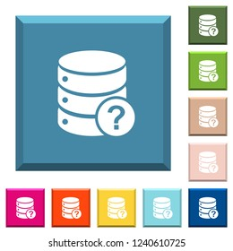 Database query white icons on edged square buttons in various trendy colors