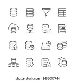 Database related icons: thin vector icon set, black and white kit