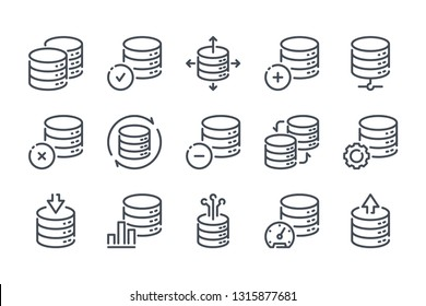 Database related line icon set. Server and backup vector linear icons. Hosting and web storage icons on white background.