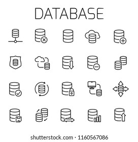 Database related vector icon set. Well-crafted sign in thin line style with editable stroke. Vector symbols isolated on a white background. Simple pictograms.