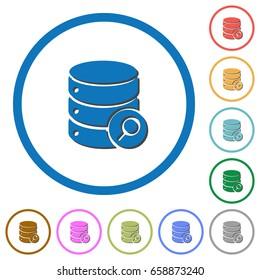 Database search flat color vector icons with shadows in round outlines on white background
