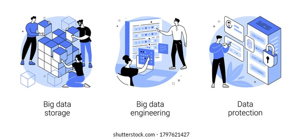 Database security abstract concept vector illustration set. Big data storage, big data engineering, data protection, disk infrastructure, business information safety, access policy abstract metaphor.