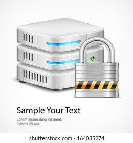 Database security concept, isolated on white, vector illustration