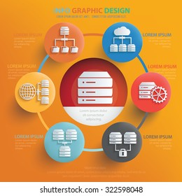 Database server info graphic design on yellow background, vector