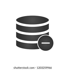 Database, Server Isolated Flat Web Mobile Icon with minus or delete icon. Vector Illustration isolated on white background.