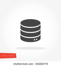 Database, Server Isolated Flat Web Mobile Icon / Vector / Sign / Symbol / Button / Element / Silhouette