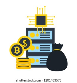 database server money bag bitcoi dollar circuit fintech