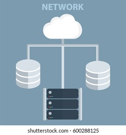 Database server and networking, Servers data center cloud computing concept vector.