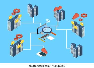 Database Server Search Data Center 3d Isometric Design Vector Illustration