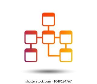 Database sign icon. Relational database schema symbol. Blurred gradient design element. Vivid graphic flat icon. Vector