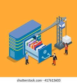 Database storage flat 3d vector illustration. Crane lowers a folder to the archive
