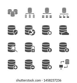 Database system icon set  in  glyph  design..Vector illustration