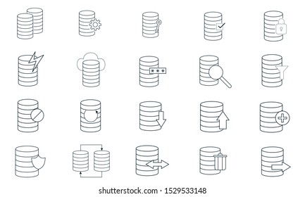 Database system icon set  vector illustration