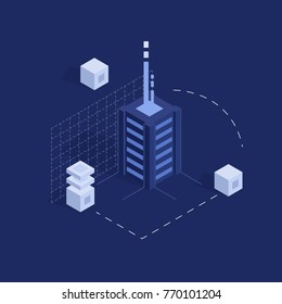 Database vector concept, data center, server room rack, hosting banner, modern electronic technology flat isometric vector