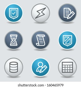 Database web icons, circle blue buttons