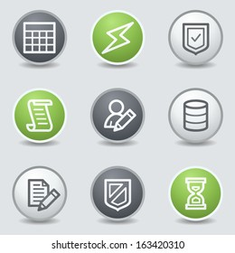 Database web icons, circle buttons