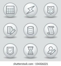 Database web icons, circle white matt buttons
