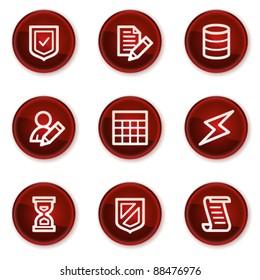 Database web icons, dark red circle buttons