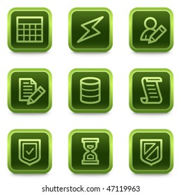 Database web icons, green square buttons series