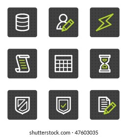 Database web icons, grey square buttons series