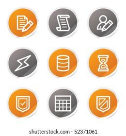 Database web icons, orange and grey stickers