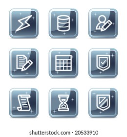 Database web icons, square blue mineral buttons series