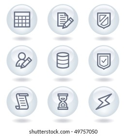 Database web icons,white circle buttons